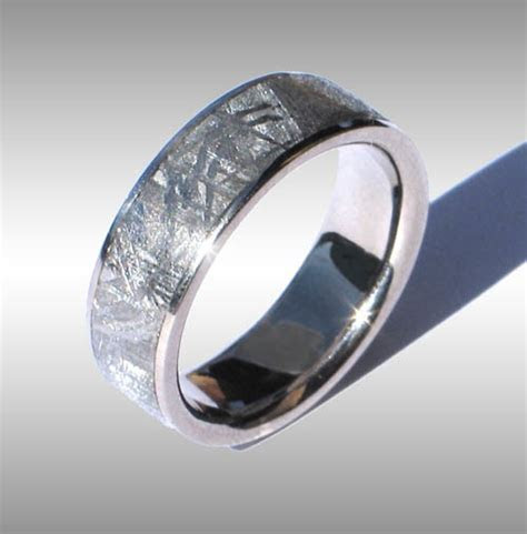 Gibeon Meteorite Ring in White Gold #008