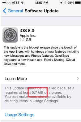 iOS8 espace requis