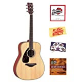 Yamaha FG720SL Left-Handed Folk Acoustic Guitar Bundle with Instructional DVD, Strings, Pick Card, and Polishing...
