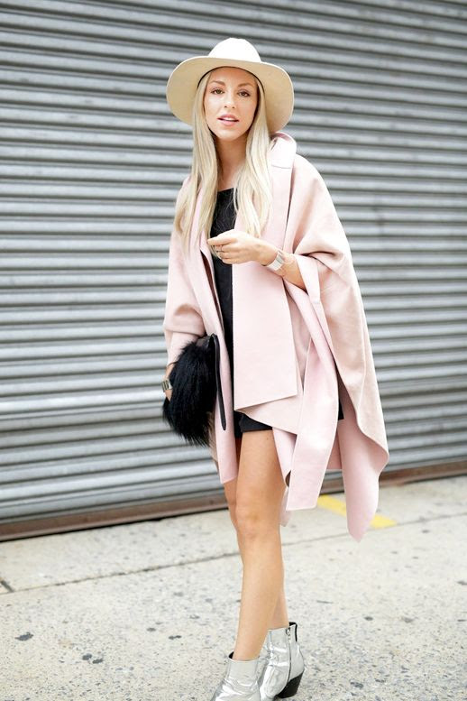 Le Fashion Blog Blogger Street Style Nyfw Cream Hat Light Pink Cape Black Mini Dress Fur Bag Silver Ankle Boots Via Popsugar