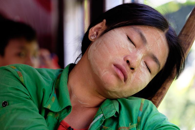 Sleeping on the circulr train, Yangon