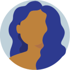 Icon of a faceless woman with long curly hair