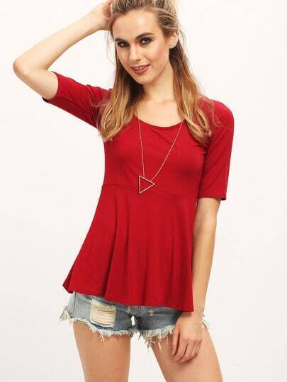 Wine Red Scoop Neck Ruffle Slim Blouse pictures