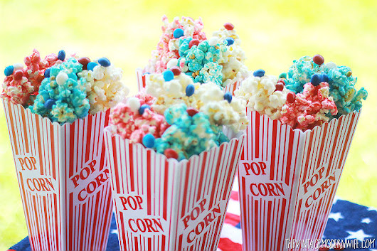 4th of July Popcorn with Skittles America Mix