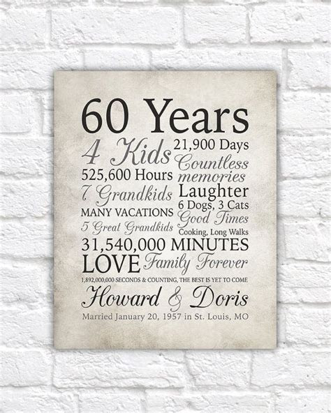 60th Anniversary Gift, 60 Years Married or Any Year, Gift