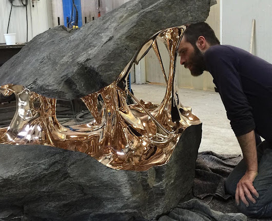 Bisected Boulders With Stretched Bronze Interiors by Romain Langlois