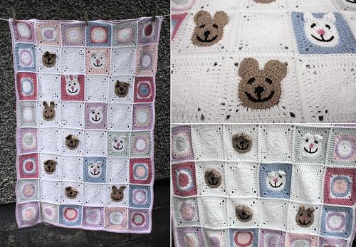 Funny face crochet blanket