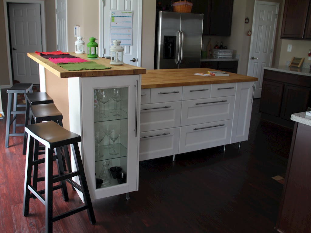 The kitchen island and a home for my wrapping paper photo frames |