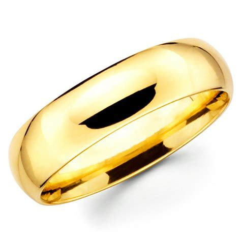 14K Solid Yellow Gold 6mm Comfort Fit Men's and Women's