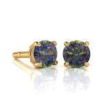 1 3/4 Carat Round Shape Mystic Topaz Stud Earrings in 14K Yellow Gold Over Sterling Silver by SuperJeweler