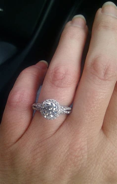 """""""My engagement ring on my hand = one proud, happy, excited"""