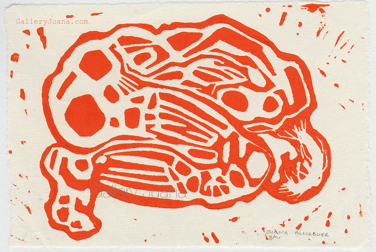 linocut, dawn, in orange