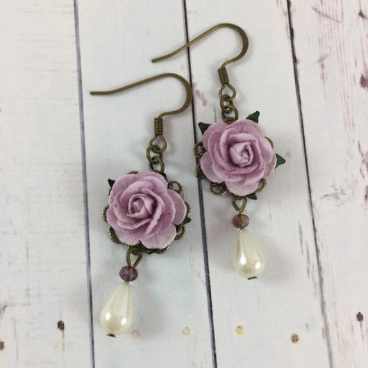 Flower and Pearl Earrings with Pastel Purple by MonicaRudyJewelry