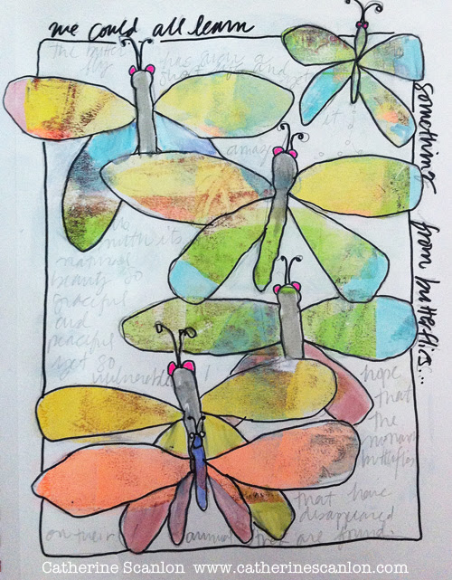 Butterfy Deconstructed Journal Page by Catherine Scanlon and Mimi DiNatale