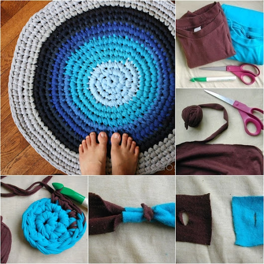 how to DIY Upcycled Crochet Rag Rug from Old T-shirts |
