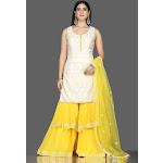 502524 White Lucknowi Kurta with Yellow Georgette Sharara