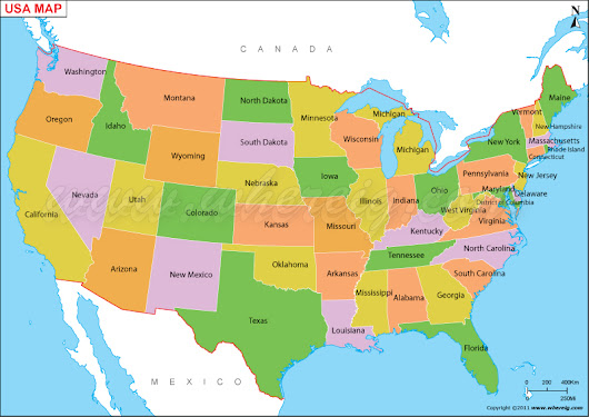US Map, Map of USA With States, America Map