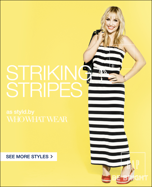 GAP STYLD BY CAMPAIGN WHOWHATWEAR HILLARY KERR TUBE TOP MAXI DRESS BLACK AND WHITE STRIPE RED WEDGES