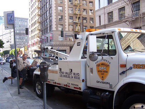 car towed in the fashion district