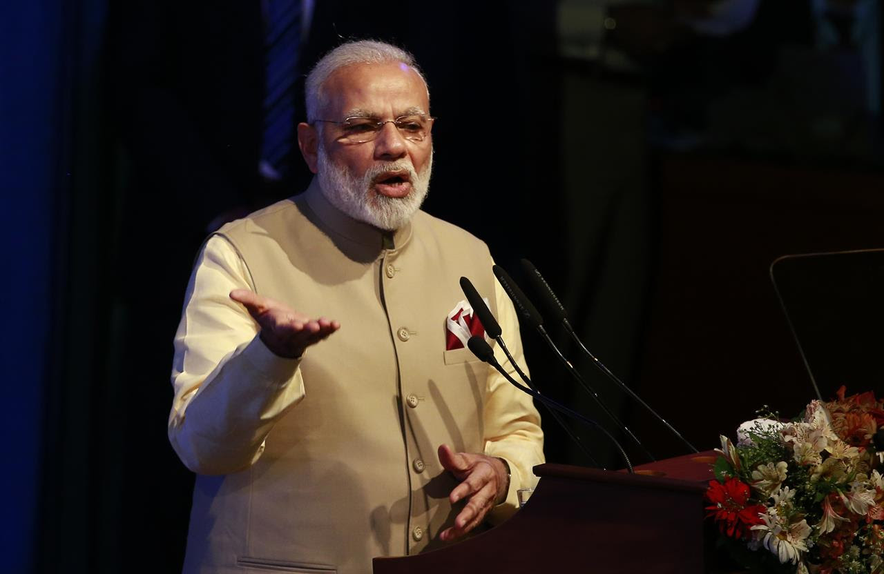Indian Prime Minister Narendra Modi addresses the gathering at the UN celebration of Vesak ceremony or Buddha Purnima in Colombo, Sri Lanka, Friday, May 12, 2017. During his two-day visit Modi participated in the United Nations celebration of Vesak or the day of birth, enlightenment and death of the Buddha. He also inaugurated a modern hospital for the benefit of tea plantation workers , ancestors of Indian laborers brought by the British from the 18th century.