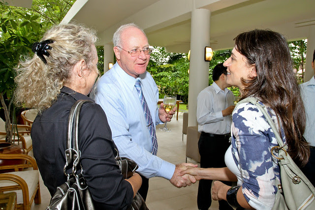 New Zealand High Commissioner to Singapore Peter Hamilton greets his guests