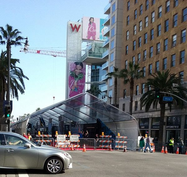 The red carpet tent for the ROGUE ONE: A STAR WARS STORY premiere is set up near the corner of Hollywood Boulevard and Vine Street...on December 8, 2016.