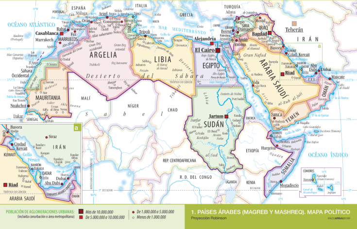 Mapa de países árabes