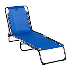 Outsunny 3-Position Portable Reclining Beach Chaise Lounge Folding Chair Outdoor Patio - Dark Blue