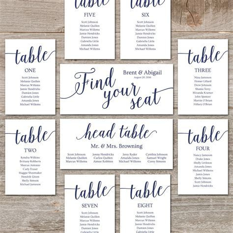 Navy Seating Chart Template // Wedding Seating Chart Cards
