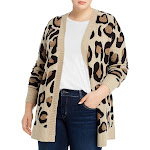 Aqua Curve Womens Plus Animal Print Open Front Cardigan Sweater Beige 1X