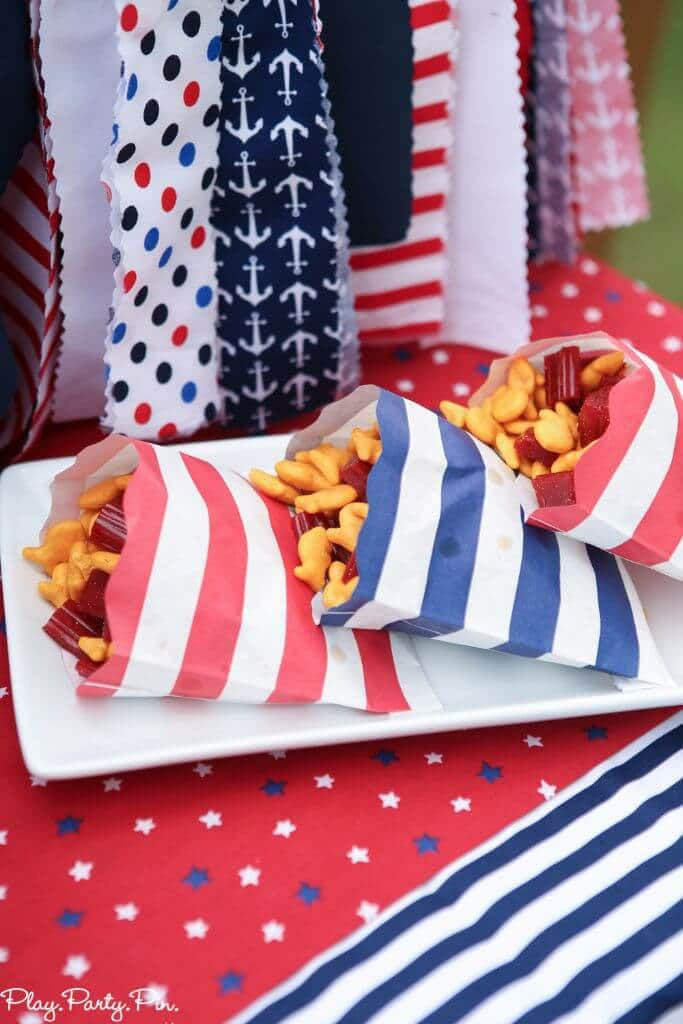 Fish and Twizzlers ships and tons of other nautical party ideas and 4th of July party ideas