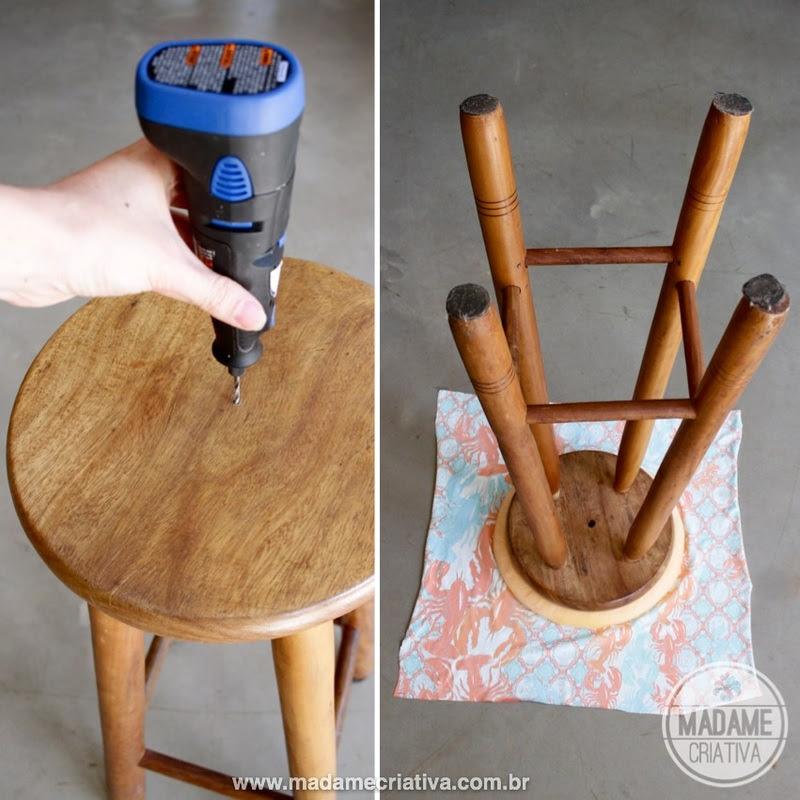 Easy and fast way to remodel a stool without sewing! DIY tutorial - Como reformar um banquinho sem precisar costurar - Passo a Passo - Estofado rápido