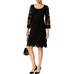 Alfani Womens Lace Shift Cocktail Dress Black