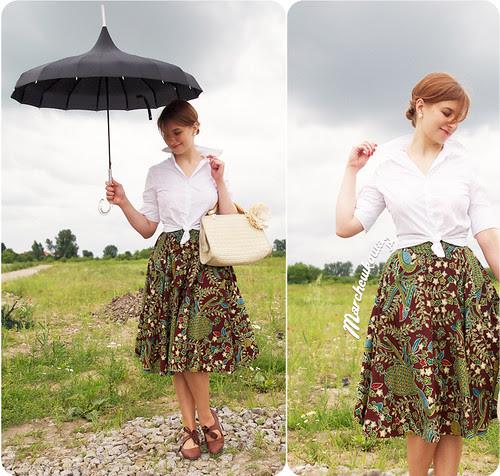 blog, szafiarski, krawiecki, spódnica z koła, rags&silks, restyle, lidl, parasolka, lata pięćdziesiąte