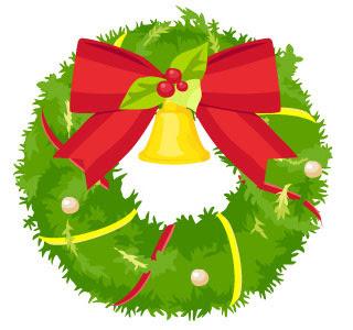 無料素材 ベルとリボンで綺麗にデコレーションされたクリスマスリース
