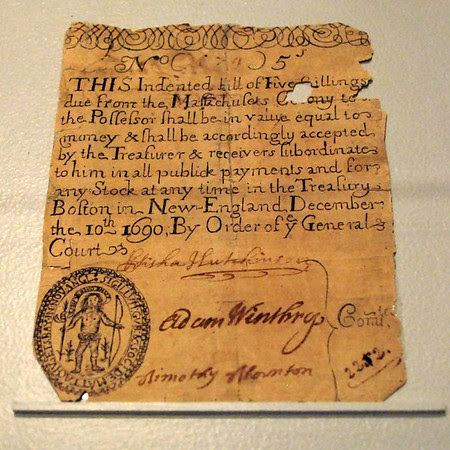 Massachusetts Five Shilling Note, December 10th, 1690