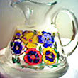 Hand painted Pitcher In Pansy Design Of Various Colors Of Fall