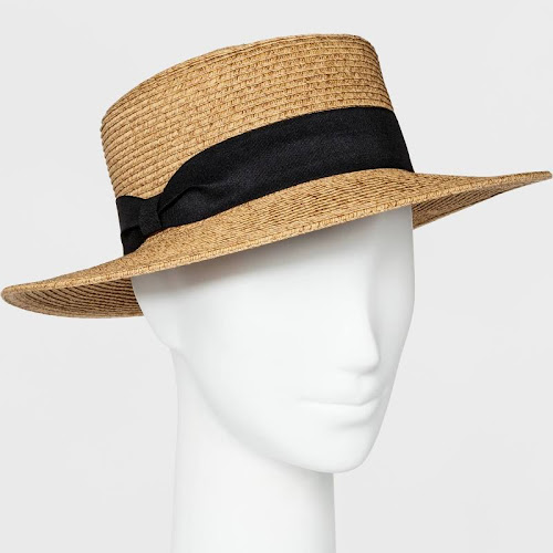 Women's Packable Boater Hat - A New Day Beige, Size: Small