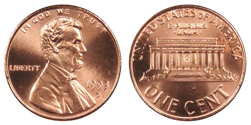 1993 D Lincoln Memorial Cent Copper Plated Zinc Penny ...