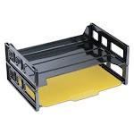 Universal Side Load Letter Desk Tray, Two Tier, Plastic, Black (UNV08100)