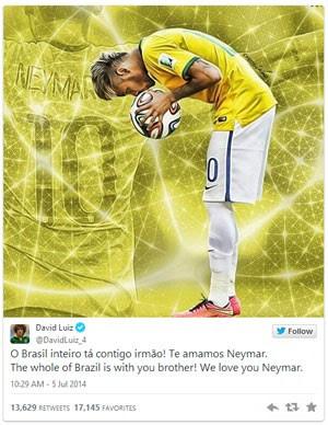 Apoio a Neymar no Twitter gera mais de 5,5 milhões de mensagens