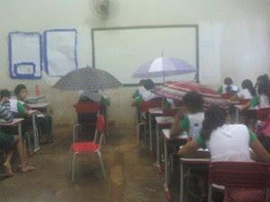 Foto mostra alunos com guarda-chuvas dentro de sala de aula (Foto: Uiliene Santa Rosa)