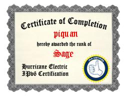 IPv6 Certification Badge for piquan
