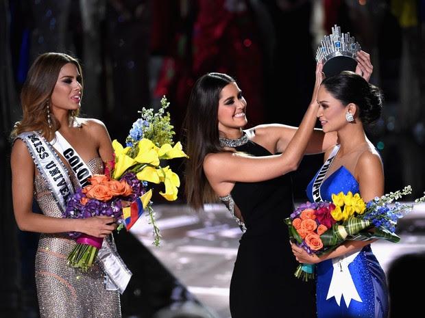 Ariadna Gutiérrez, Paulina Veja e Pia Alonzo Wurtzbach no Miss Universo em Las Vegas, nos Estados (Foto: Ethan Miller/ Getty Images/ AFP)