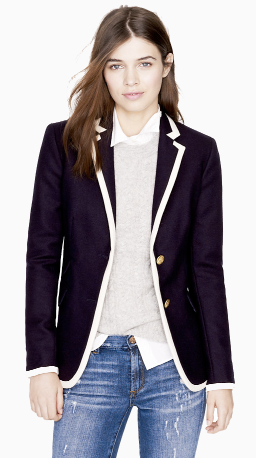 LE FASHION J CREW SALE NAVY WOOL JACKET BALENCIAG INSPIRED WHITE LINED COLLARED WHITE SHIRT CRISP DENIM JEANS 7