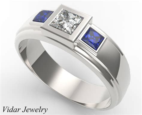 stone diamond blue sapphire wedding band  mens