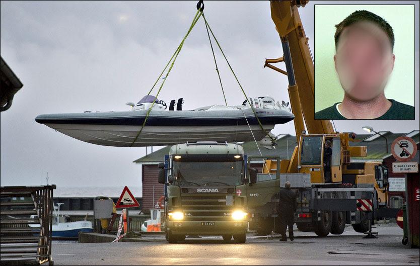 PÅGREPET: Den 38 år gamle mannen (innfelt) er utlevert til Danmark i forbindelse med hasjsaken i Ålbæk i januar. Her heises båten med 500 hestekrefter som skulle frakte de 250 kiloene med hasj fra Danmark til Arendal. Foto: RENÉ SCHÜTZE