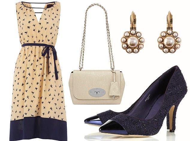 Dress, £30, dorothyperkins.com. Shoes, £50, topshop.com. Earrings, £16, cathkidston.com. Lily bag, £495, mulberry.com