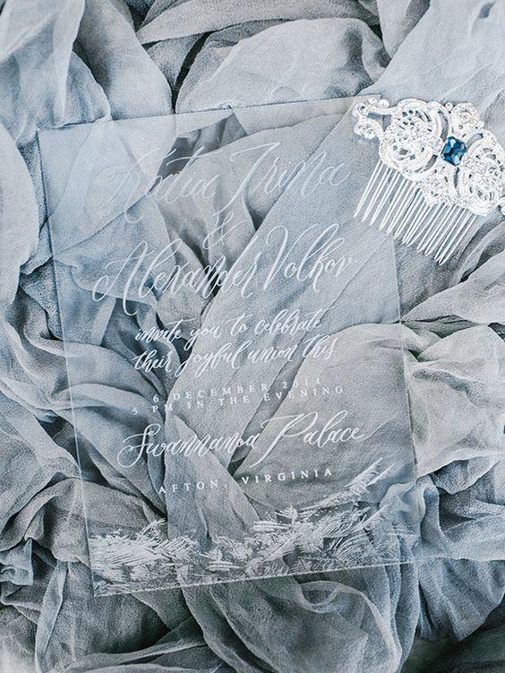Acryl-Hochzeits-Einladung für einen winter-Küsten Hochzeit