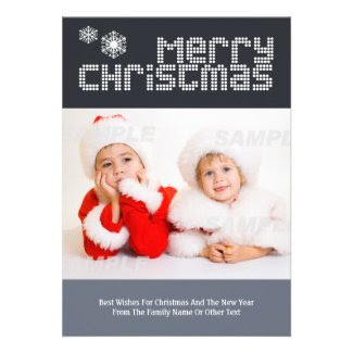 Modern Dotted Text Christmas Photo Template Personalized Invites